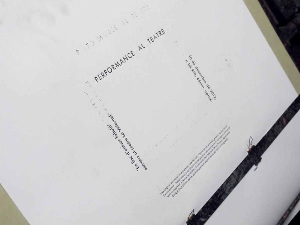 Printing 'Performance al teatre' by Laia Estruch